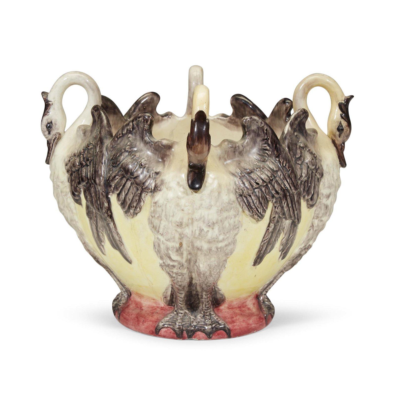 Delphin Massier (French, 1836-1907), A Majolica Swan
