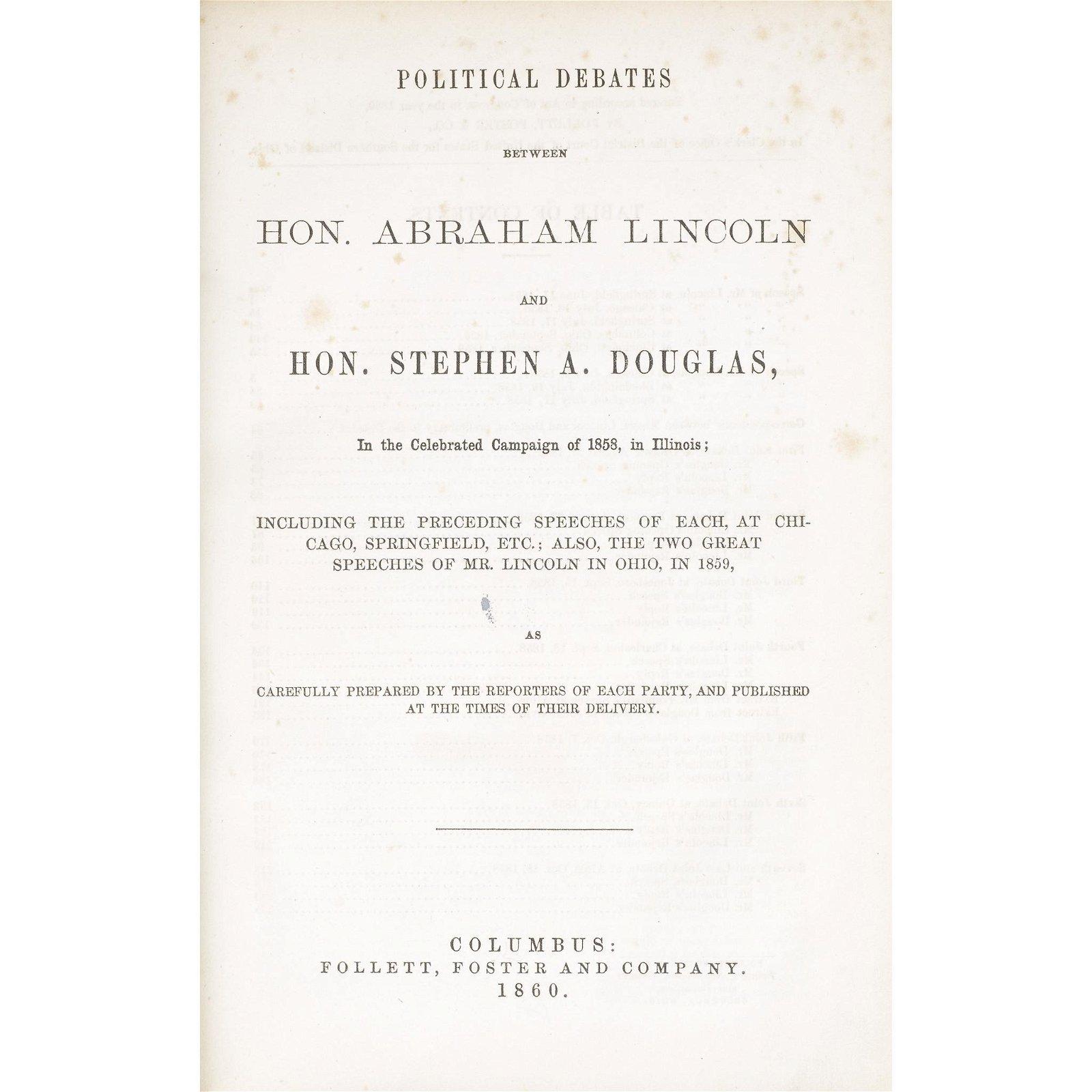 [Americana] [Lincoln, Abraham], Political Debates