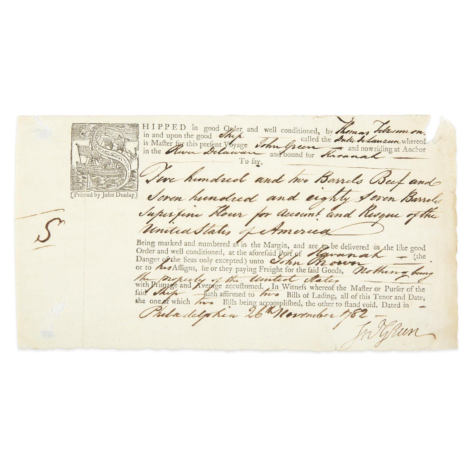 [Americana] Green, John, Document, signed