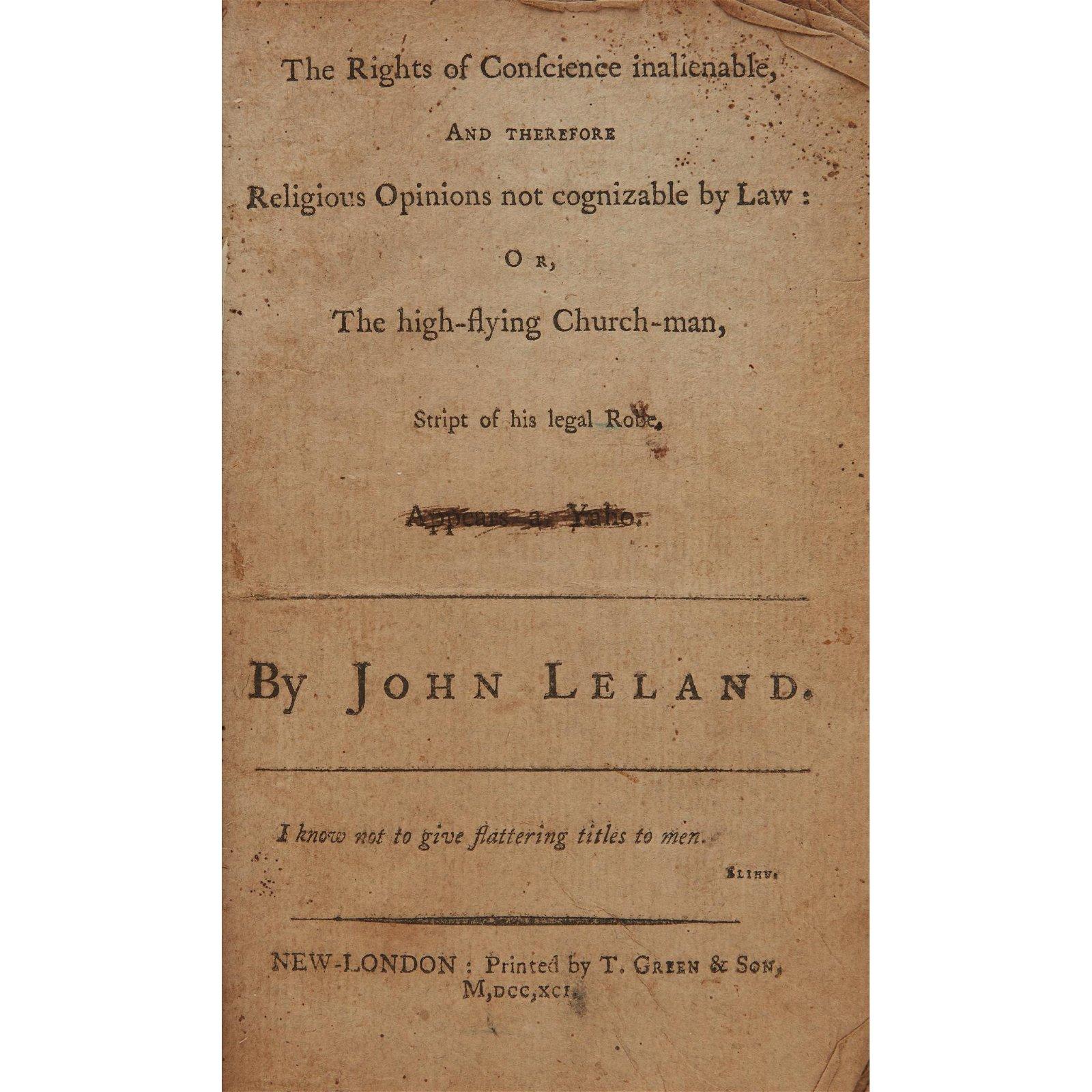 [Americana] Leland, John, The Right of Conscience