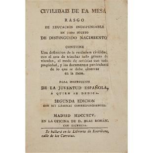 Early Printing Civilidad de la mesacon el arte de