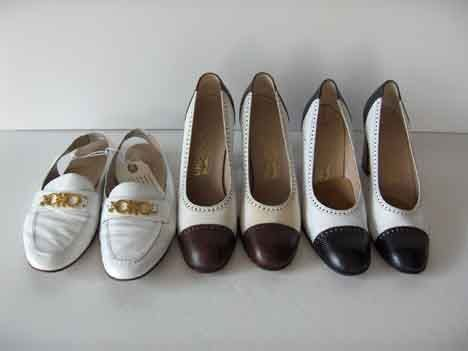 434: SIX PAIRS OF FERRAGAMO PUMPS Consisting of: two si