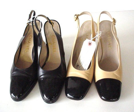 445: TWO PAIRS OF CHANEL SLING BACK PUMPS One pair in t