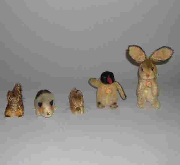 Five stuffed Steiff animals, , Small squirrel, ha