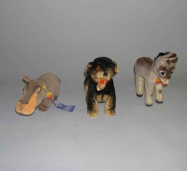 Three Steiff stuffed animals, , Hippopotamus (Moc