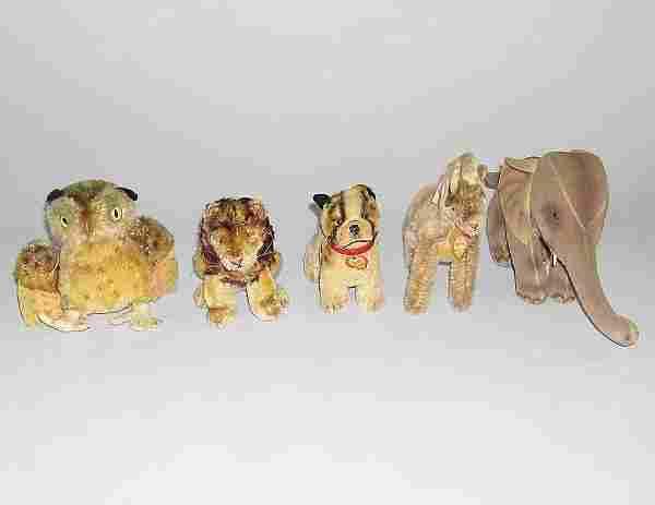 Five small Steiff stuffed animals, , Owl, lion, p