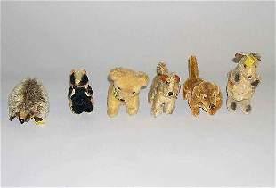 Six small Steiff stuffed animals, , Porcupine, sk