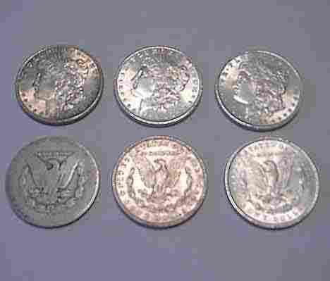1028: Six 1886 U.S. silver dollars, , One in poor condi