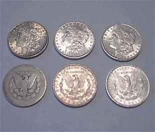 Six 1886 U.S. silver dollars, , One in poor condi
