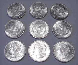 Nine 1887 U.S. silver dollars, ,