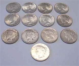 Thirteen 1924 U.S. silver Peace dollars, ,