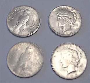 Four 1925 U.S. silver Peace dollars, ,