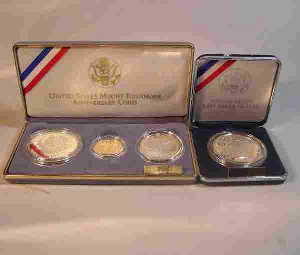 1051: Two U.S. Mt. Rushmore anniversary coins, , Boxed.