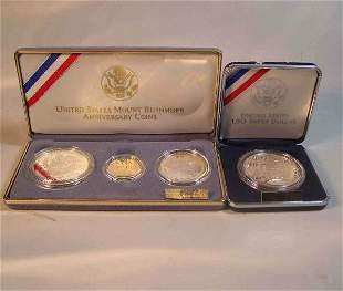 Two U.S. Mt. Rushmore anniversary coins, , Boxed.