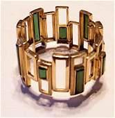1191: 18k yellow gold & tourmaline flexible bracelet, ,