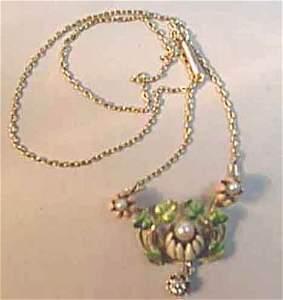 1229: Yellow gold, enamel, pearl & diamond lavaliere, ,