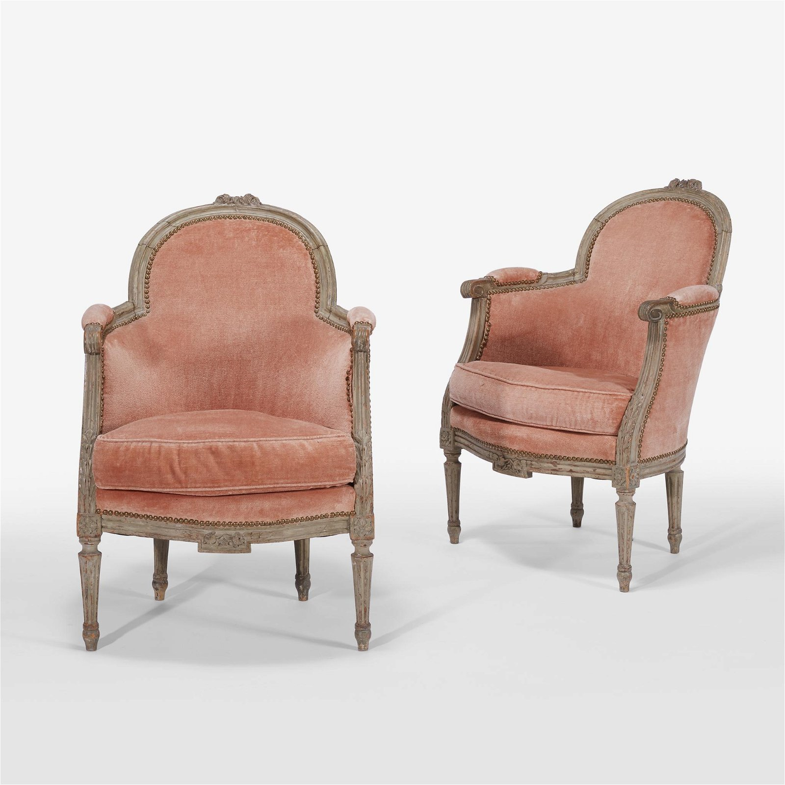 Pair of French Louis XVI style painted beechwood arm