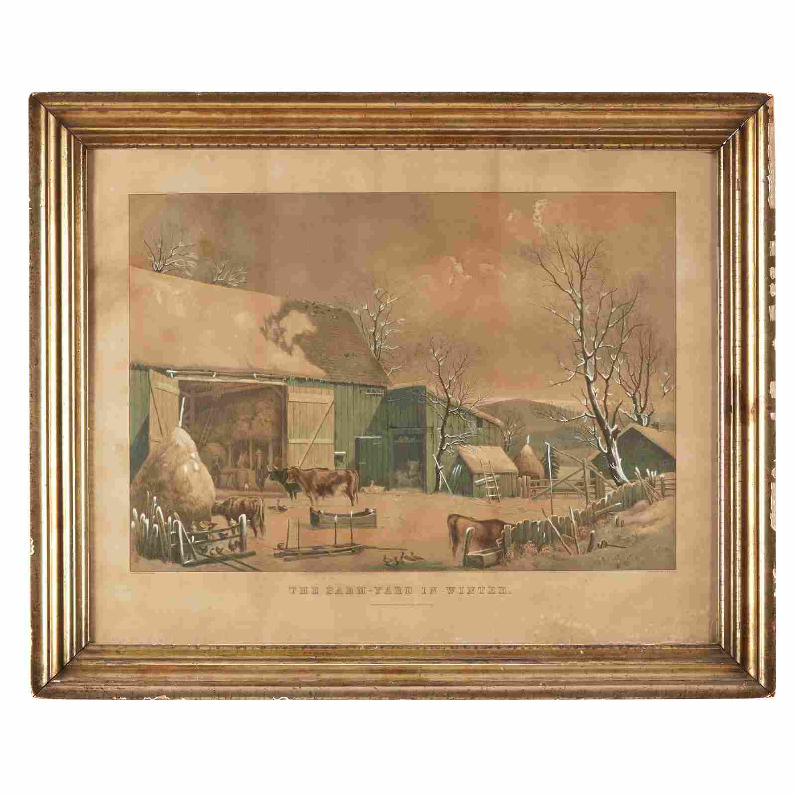 [Prints] Currier & Ives, The Farm-Yard in Winter