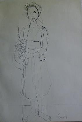 JEAN JANSEM (french B. 1920) WOMAN HOLDING FLOWER
