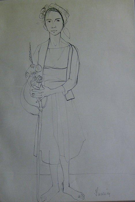 3010: JEAN JANSEM (french b. 1920) WOMAN HOLDING FLOWER