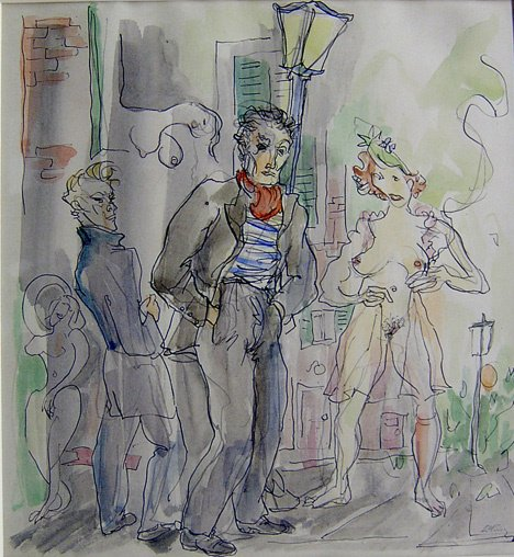 3067: EMLEN ETTING (american 1905-1993) FIGURES ON A ST