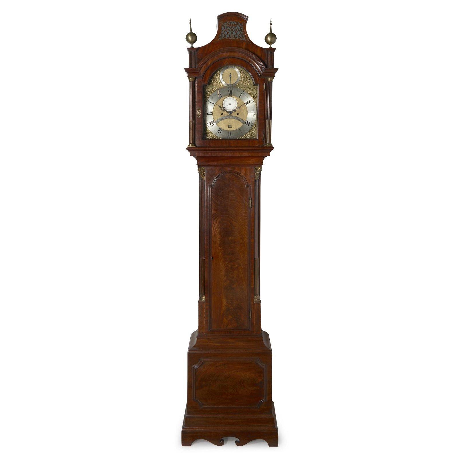 A George III brass-mounted mahogany tall case clock,
