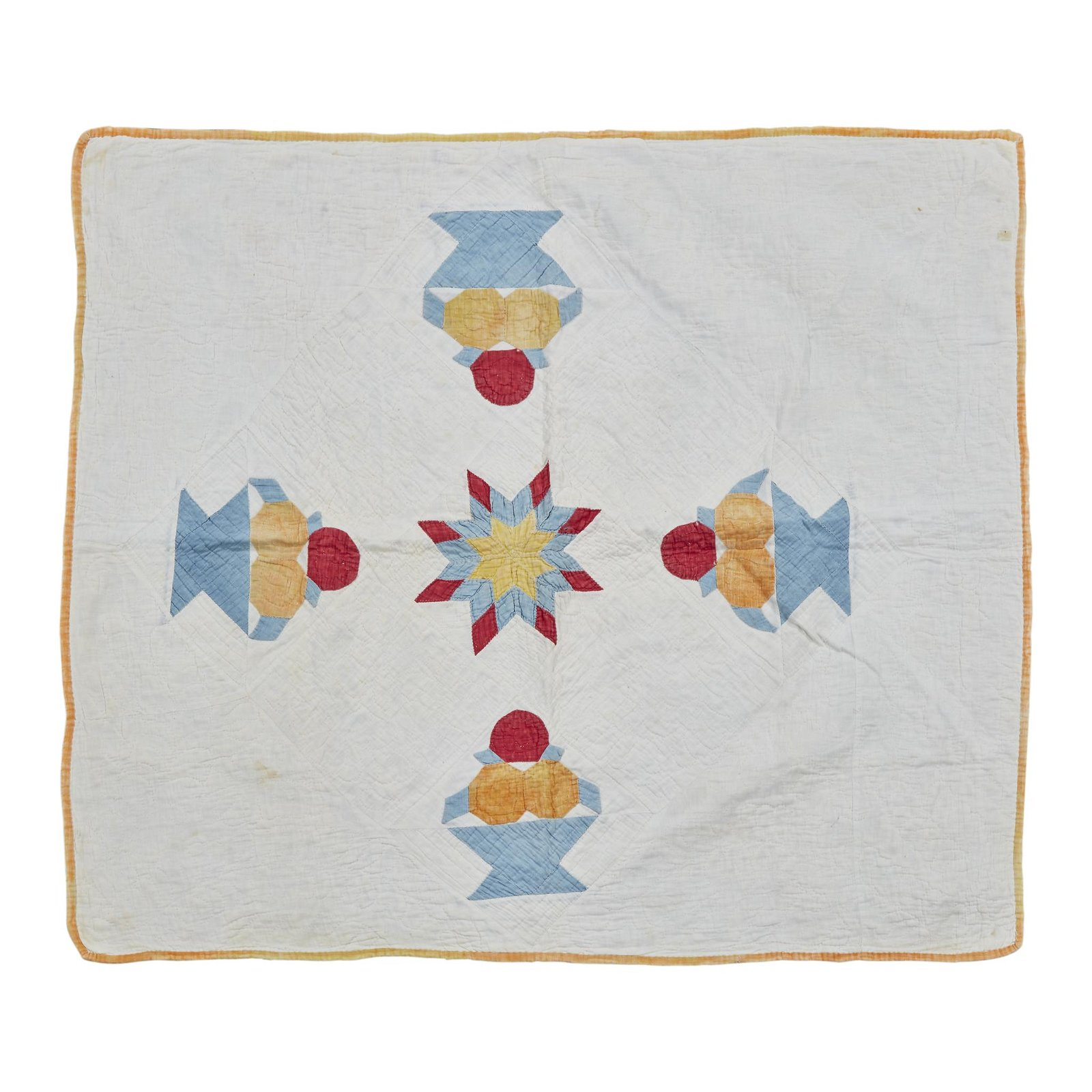 Four appliqued and pieced crib quilts, 19th and 20th