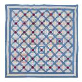 Amish pieced cotton Log Cabin variation quilt