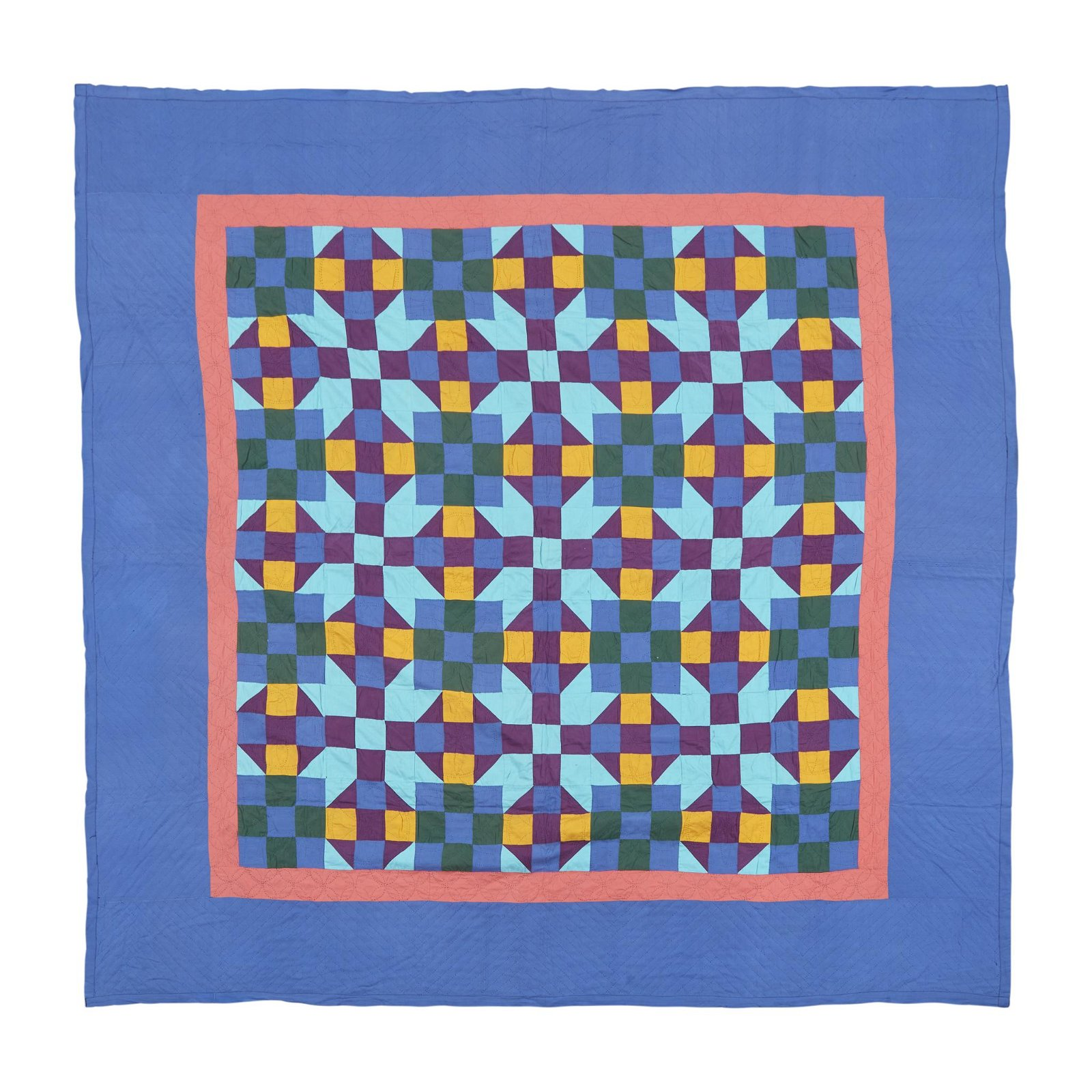 "Amish ""Nine-Patch"" variation pattern quilt, Indiana,"