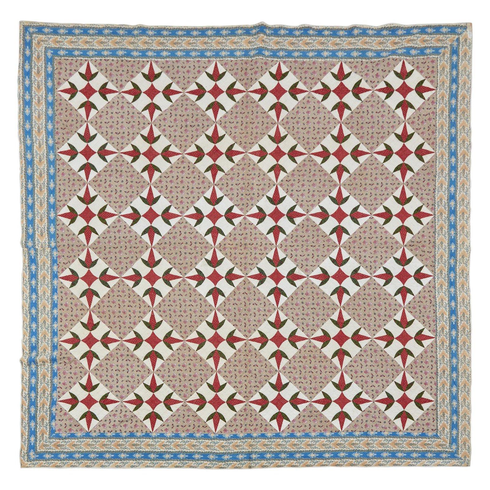 "Pieced ""Turkey Tracks"" pattern quilt, second half 19th"