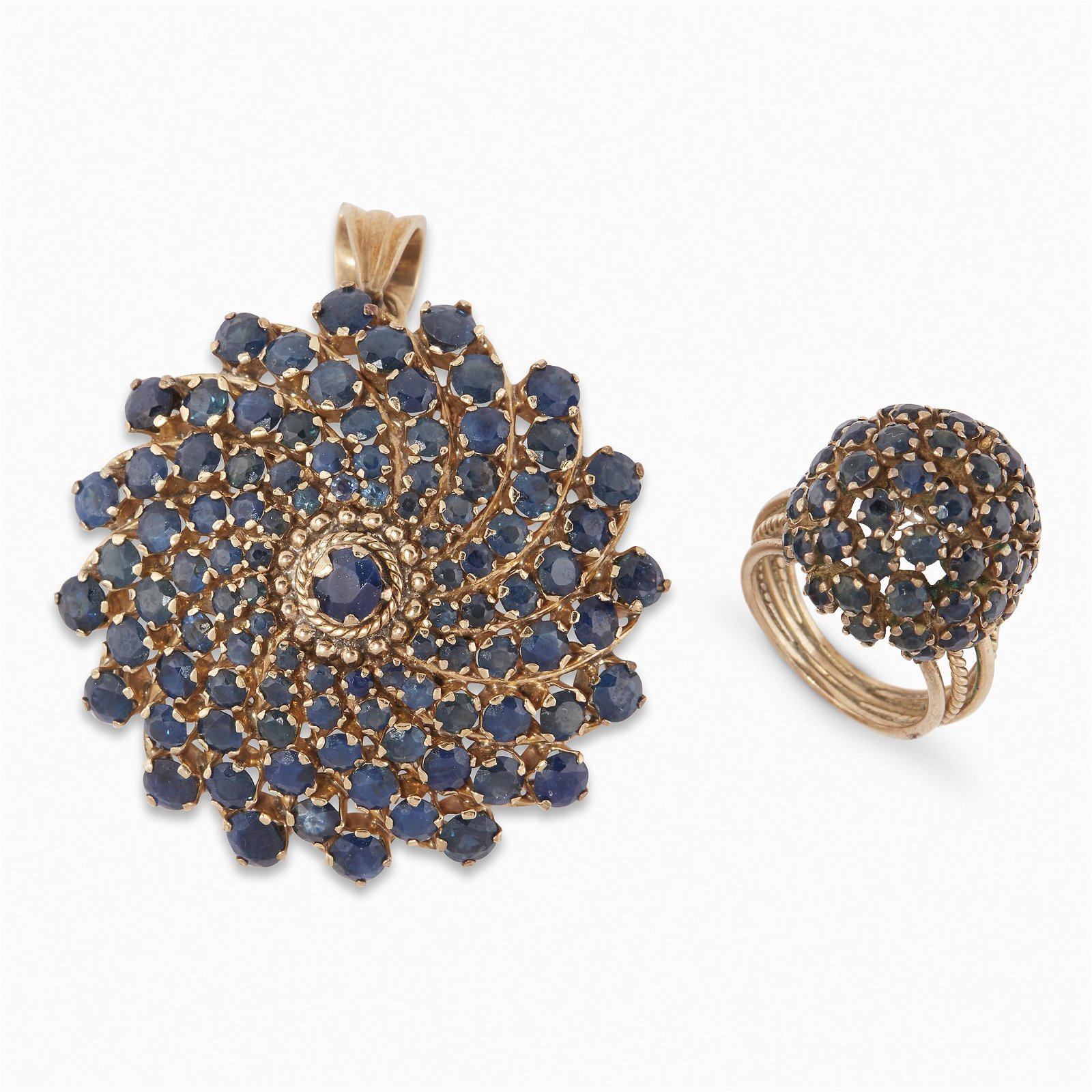 A sapphire pendant brooch and ring suite,