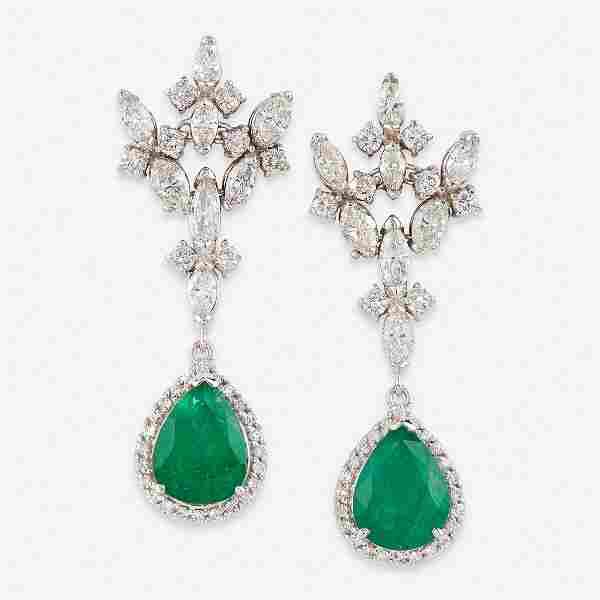 A pair of emerald, diamond, and eighteen karat white