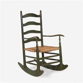 Green-painted ladder-back rocking chair, early 19th