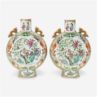 A pair of Chinese export porcelain rose medallion moon