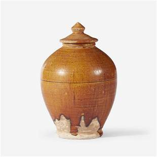 A Chinese amber-glazed pottery ovoid jar and cover,