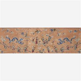 """A Chinese embroidered silk """"Dragon Dance"""" panel, 19th"""