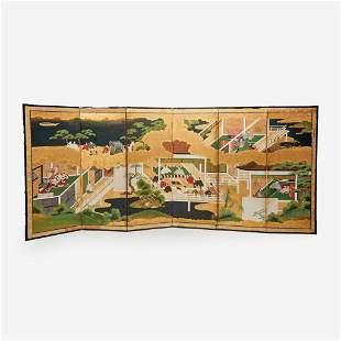 A Japanese Tosa school six-fold screen, Edo period,