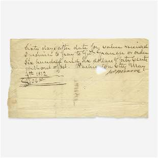 [Presidential] Monroe, James, Signed Promissory Note