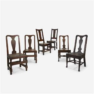Three Pairs of William & Mary and Queen Anne Oak and