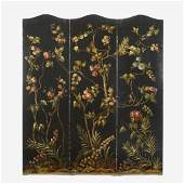 A Victorian Floral-Painted Three-Panel Canvas Screen,