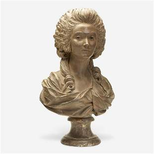 A French Painted Terracotta Bust of Madame du Barry on