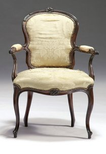 2: George III mahogany and upholstered open armchair, c