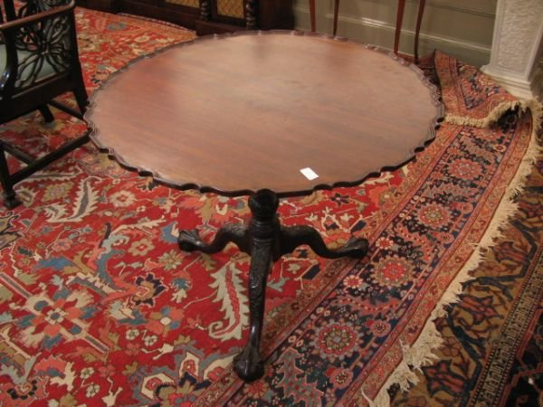5: George III style mahogany birdcage tilt top table, l