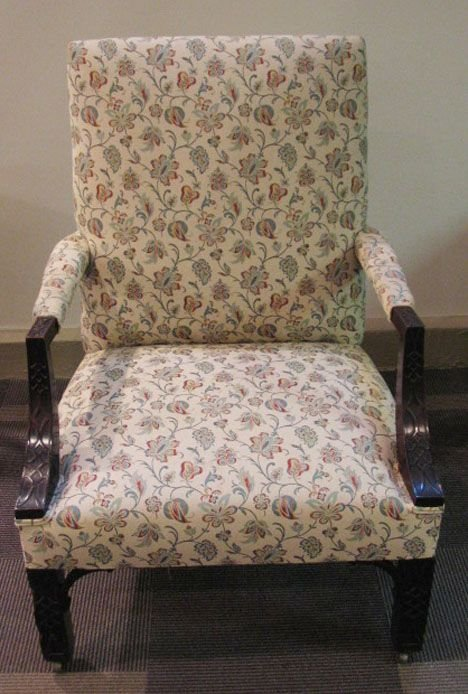 6: George III style mahogany & upholstered armchair, 19