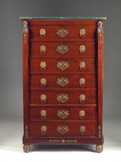 8: FRENCH EMPIRE-STYLE MAHOGANY & GILT-METAL-MOUNTED CH