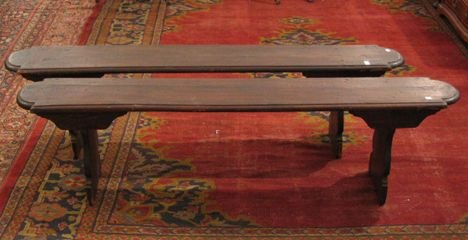 17: Pair of Italian walnut & pine benches, Part 17th c.