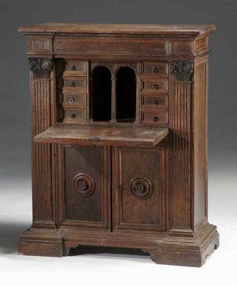 24: Italian walnut secretaire, 17th c. and later, The h