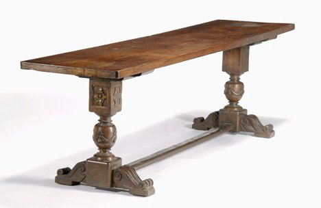 235: Italian walnut refectory table, 17th c & later, Th