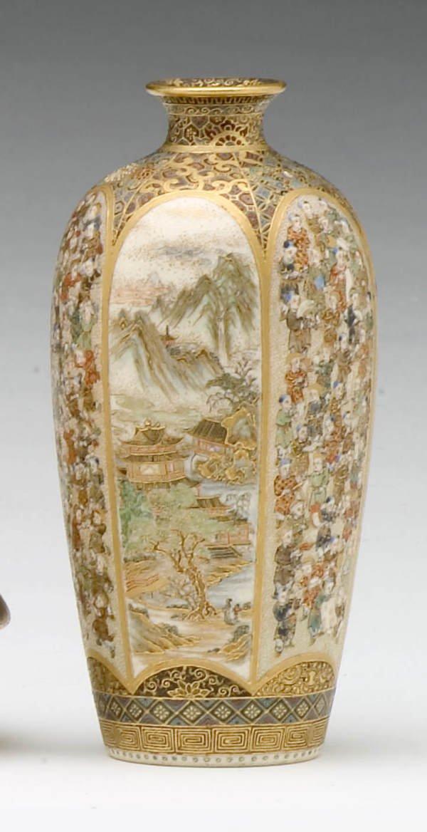 835: Fine pair of small Japanese satsuma vases, Meiji p