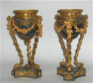 1166: Fine pair of Louis XV style gilt-bronze mounted f